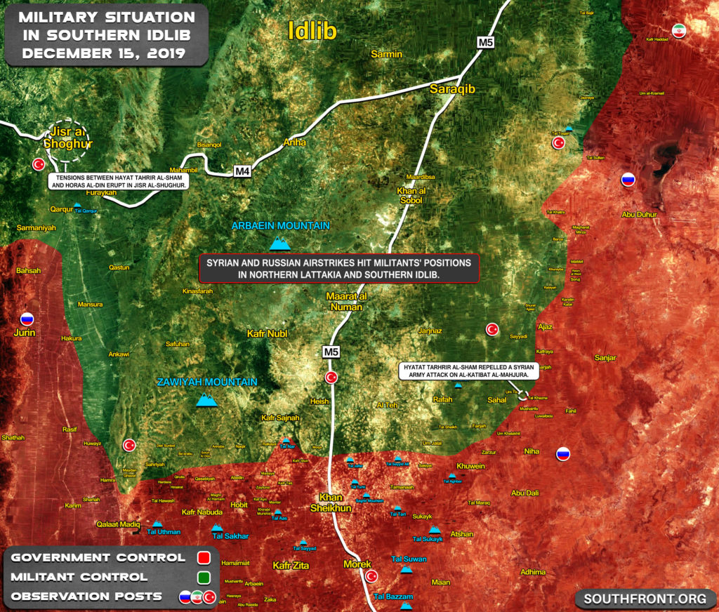 Military Situation In Southern Idlib On December 15, 2019 (Map Update)