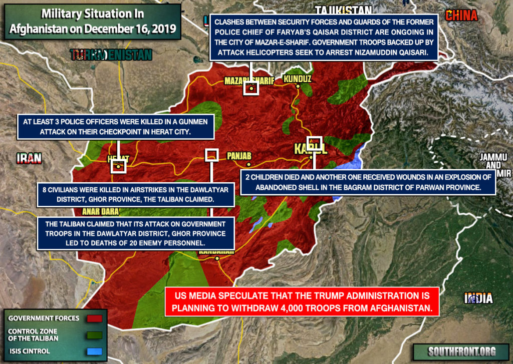 Military Situation In Afghanistan On December 16, 2019 (Map Update)