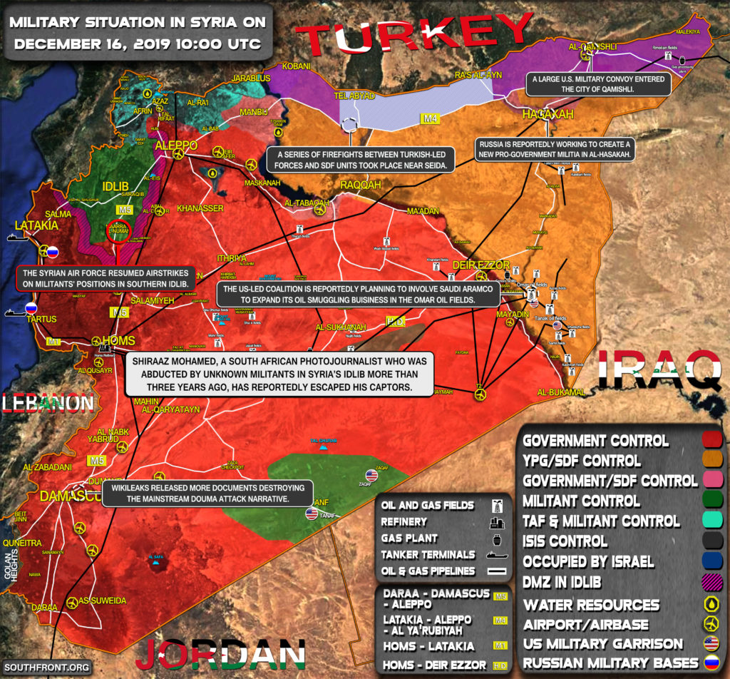 Military Situation In Syria On December 16, 2019 (Map Update)