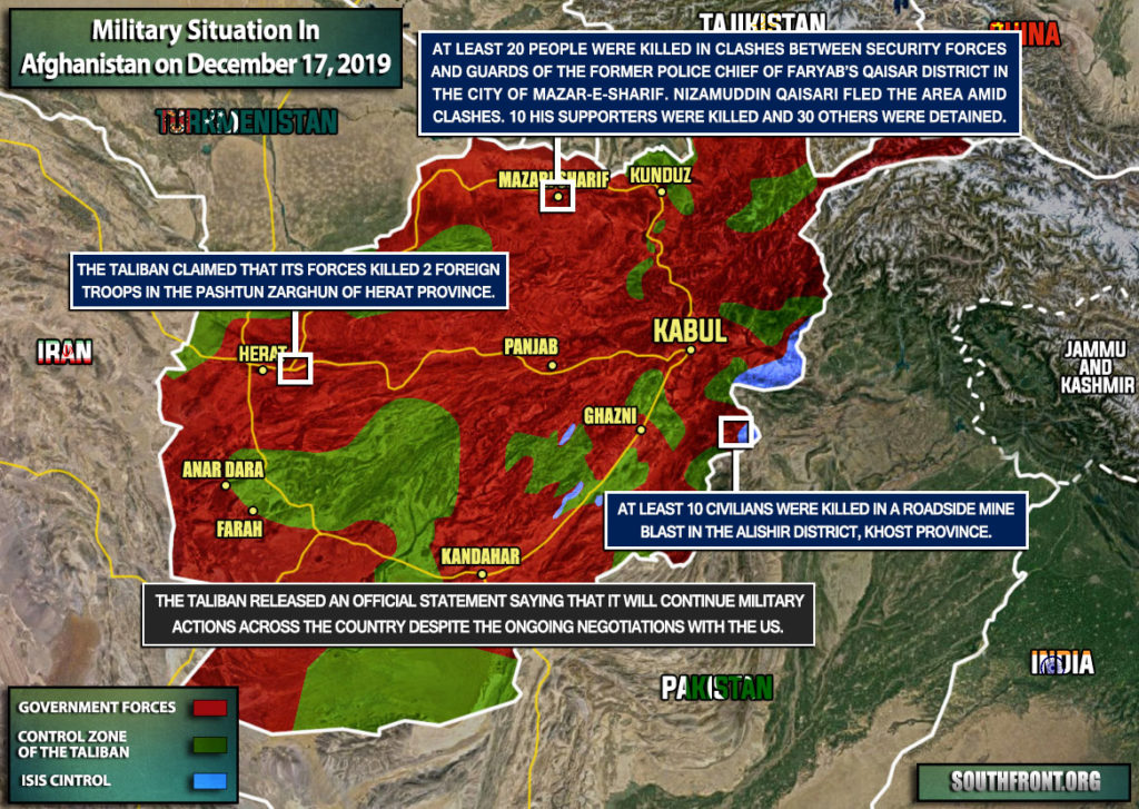 Military Situation In Afghanistan On December 17, 2019 (Map Update)