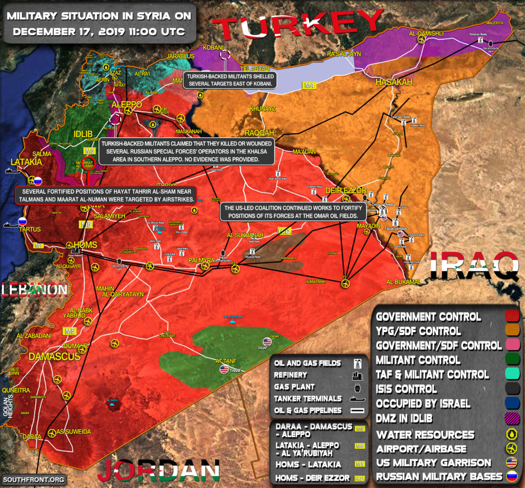 Military Situation In Syria On December 17, 2019 (Map Update)