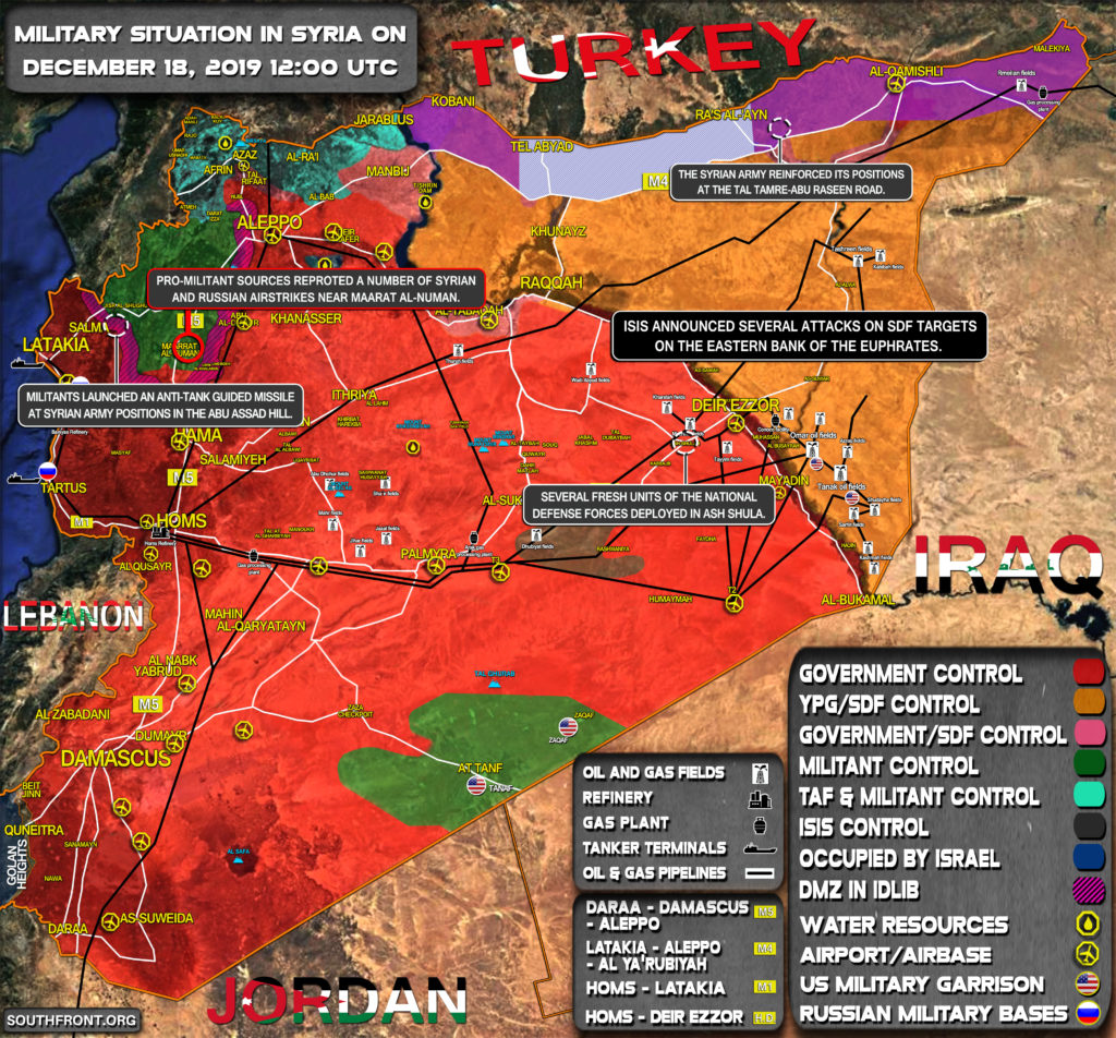 Military Situation In Syria On December 18, 2019 (Map Update)