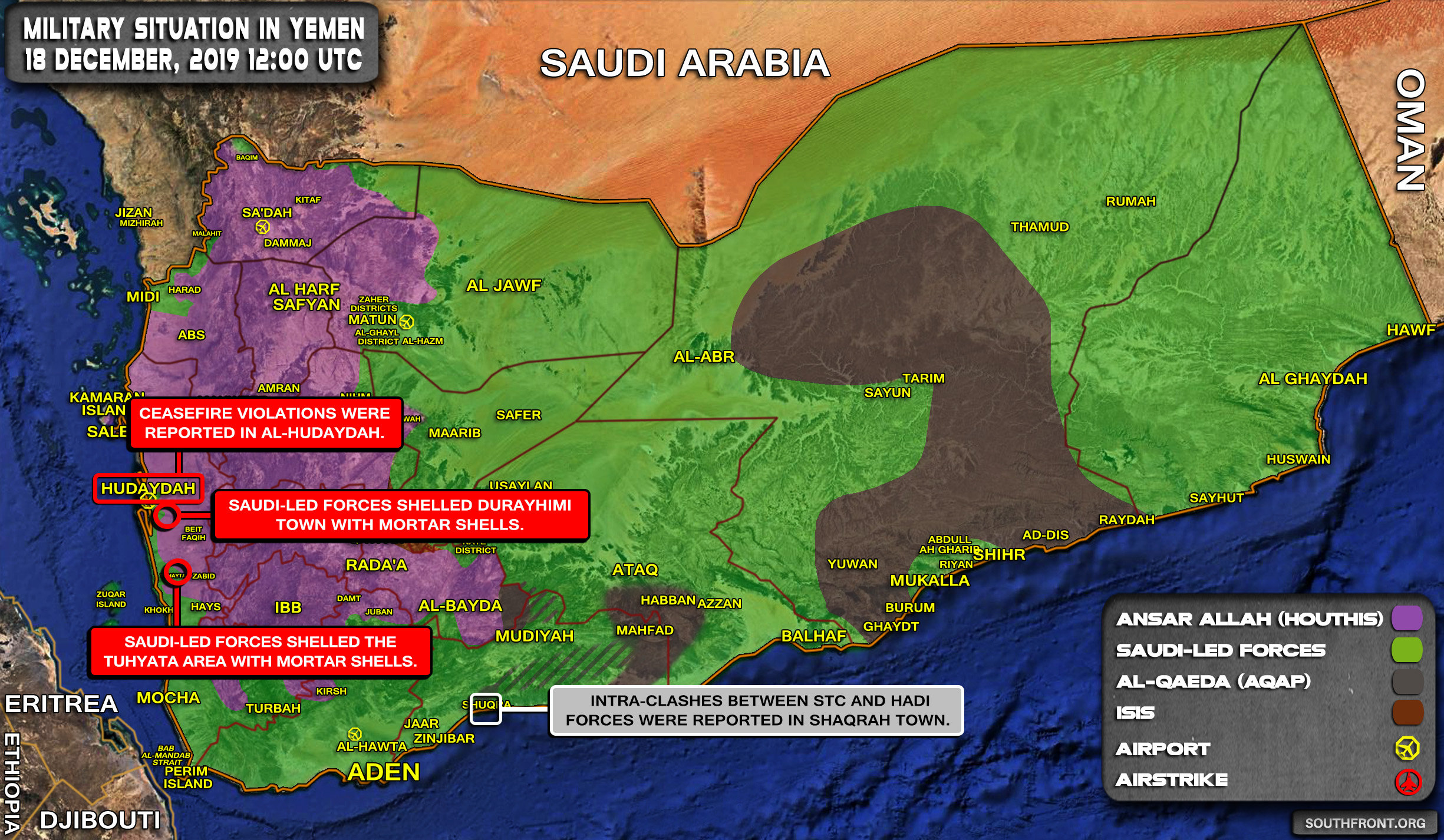 Military Situation In Yemen On December 18, 2019 (Map Update)