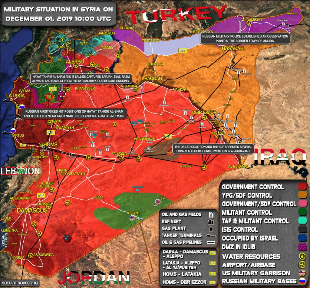 Military Situation In Syria On December 1, 2019 (Map Update)