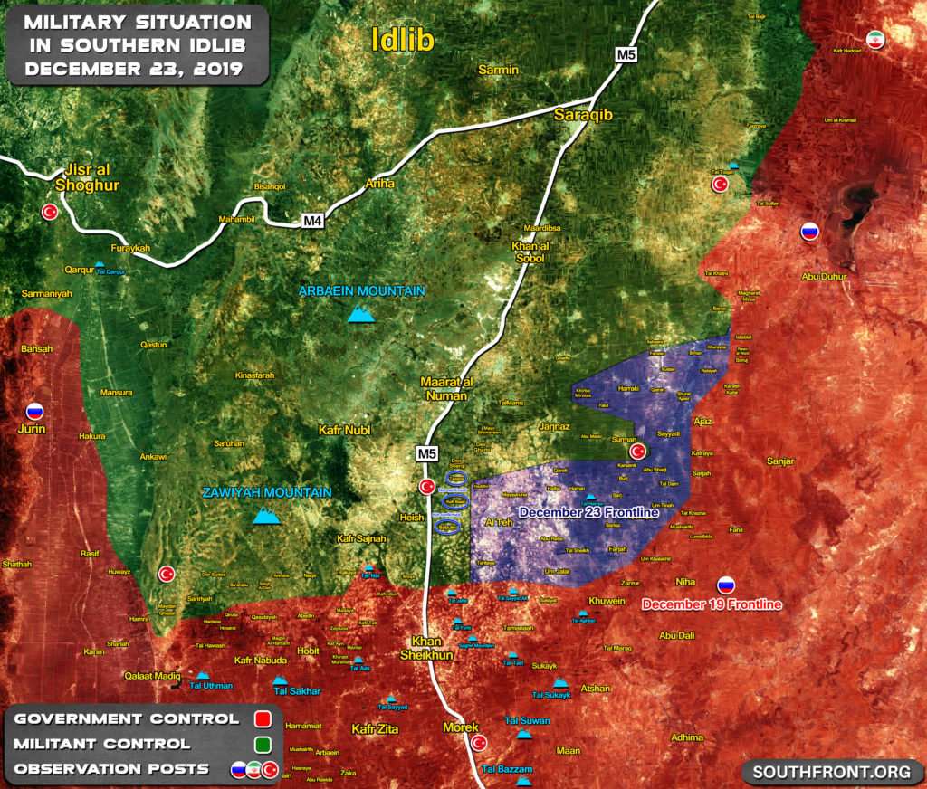 Military Situation In Southern Idlib On December 19 & December 23 (Map Comparison)