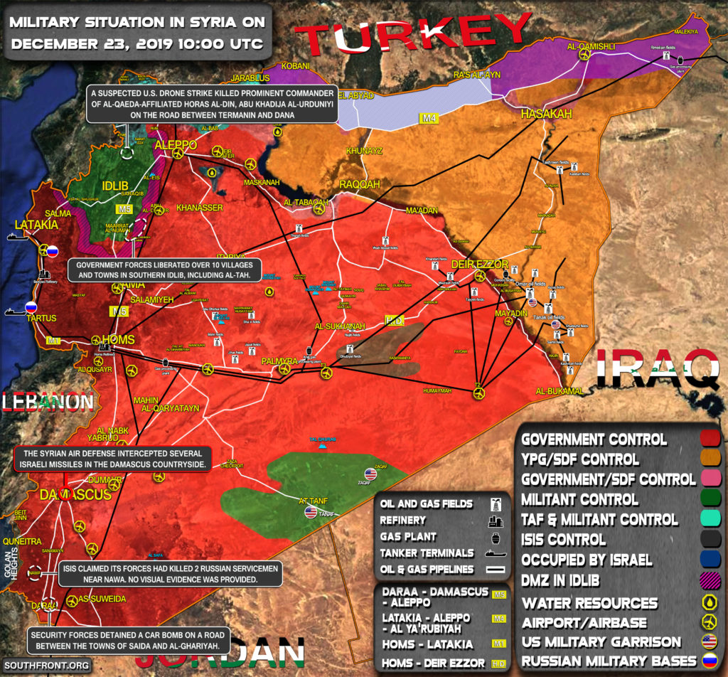 Military Situation In Syria On December 23, 2019 (Map Update)