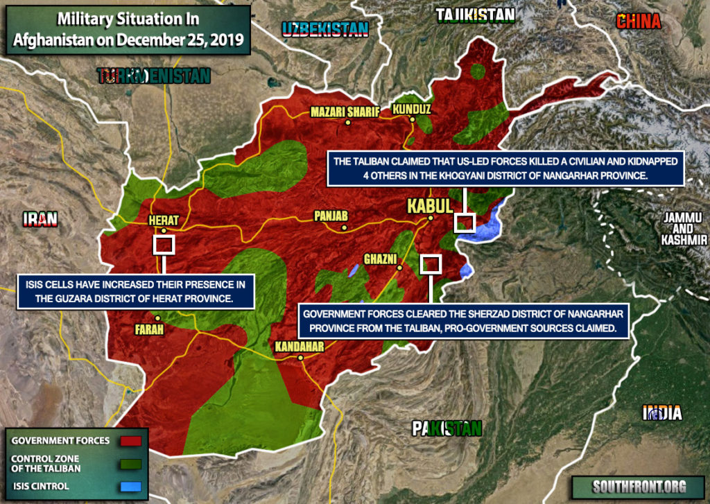 Military Situation In Afghanistan On December 25, 2019 (Map Update)