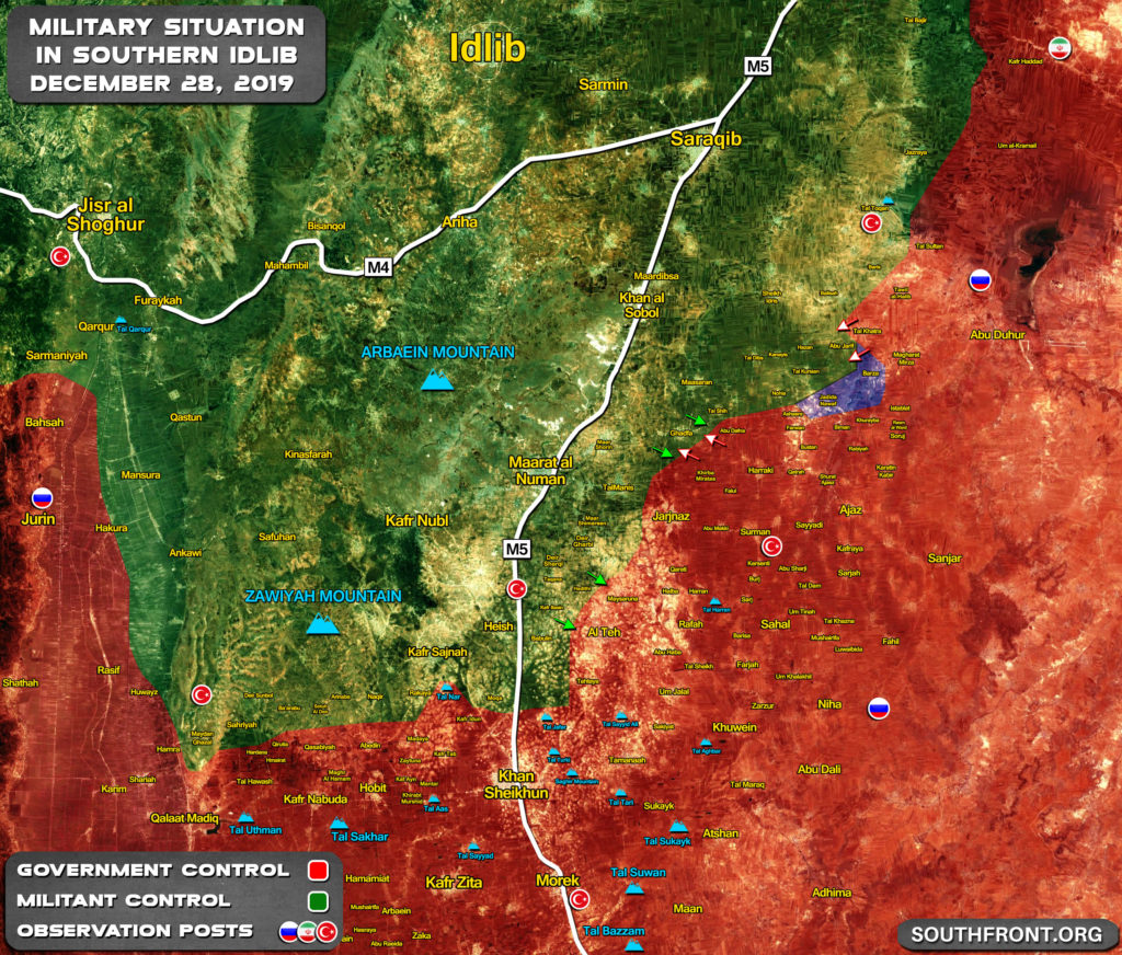 Military Situation In Syria's Southern Idlib On December 28, 2019 (Map Update)