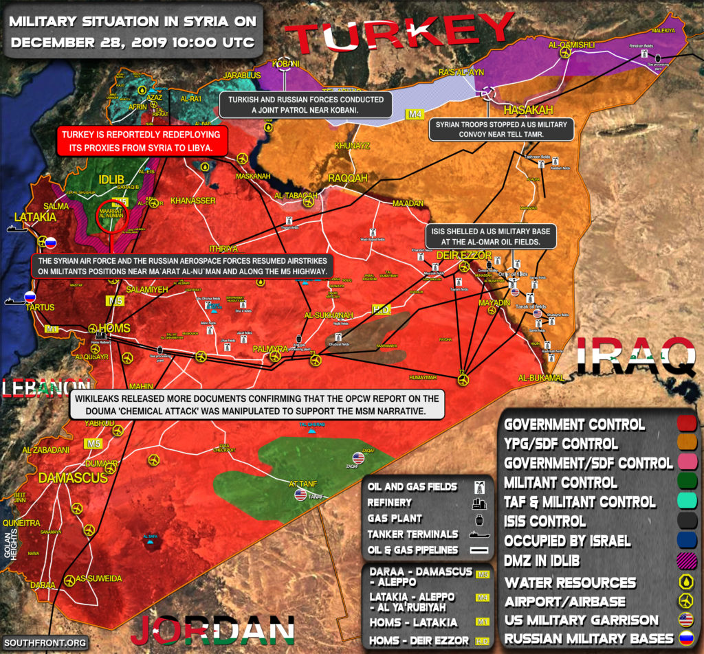 Military Situation In Syria On December 28, 2019 (Map Update)