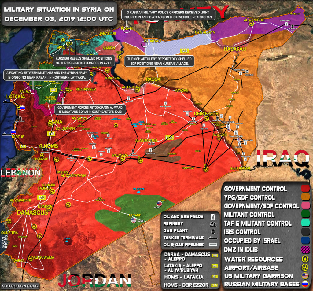 Military Situation In Syria On December 3, 2019 (Map Update)