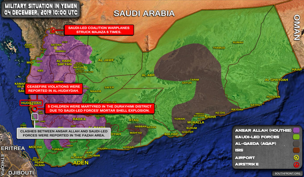 Military Situation In Yemen On December 4, 2019 (Map Update)