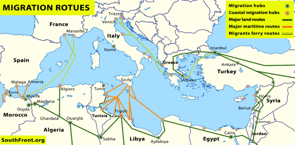 Map Update: Main Illegal Migration Routes From Africa, Middle East To Europe