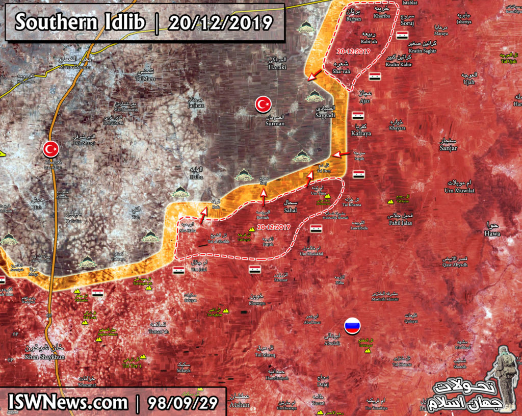 Military Situation In Southern Idlib Following December 20 Advance By Syrian Army (Map Update)