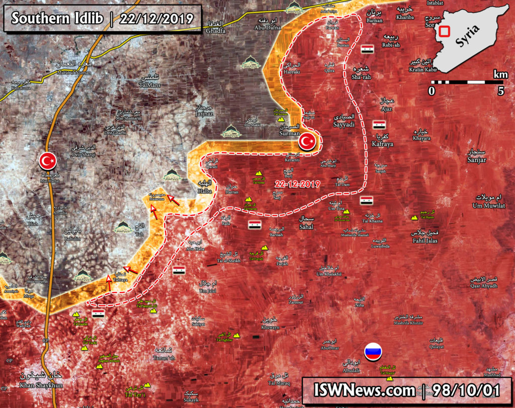 Map Update: Syrian Army's Advance In Southern Idlib On December 22, 2019