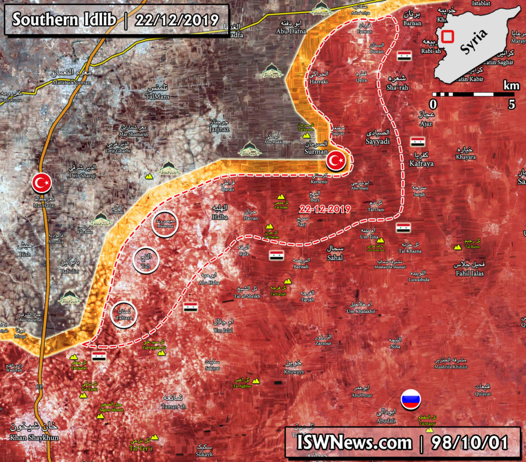 Military Situation In Southern Idlib On December 23, 2019 (Map Update)