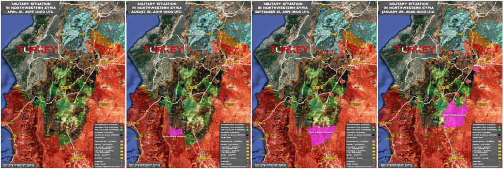 Mapa Porovnanie: Vojenská Situácia V Severozápadnej Sýrii Apríla 2019-Január 2020