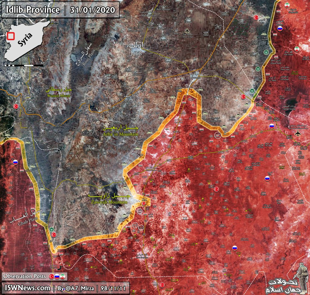 Military Situation In Southeastern Idlib On January 31, 2020 (Map Update)