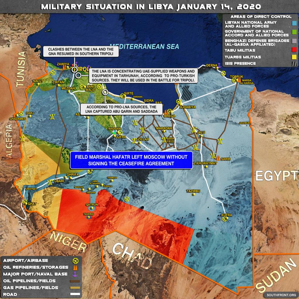 Vojenská Situácia V Líbyi 14. Januára 2020 (Aktualizácia Máp)