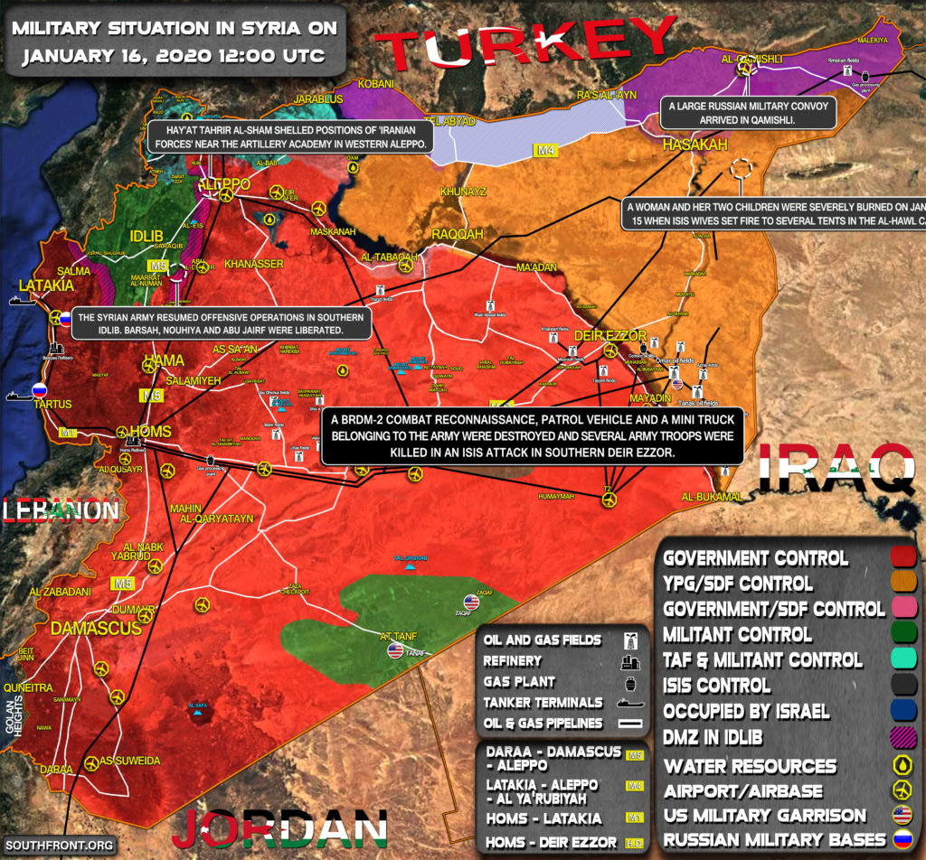 Military Situation In Syria On January 16, 2020 (Map Update)