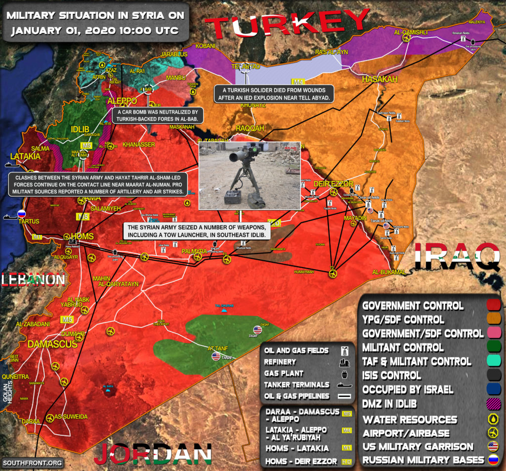 Military Situation In Syria On January 1, 2020 (Map Update)