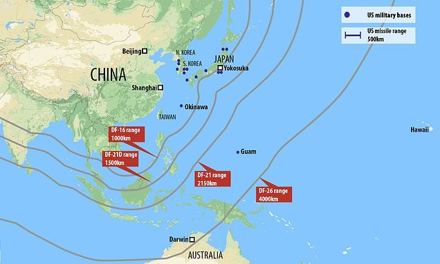 The approximate ranges of Chinese land-based ASBMs. These missiles are largely mobile, and thus hard to detect prior to launch or to counter strike. There range far exceeds the maximum combat radius of U.S. carrier borne strike aircraft.