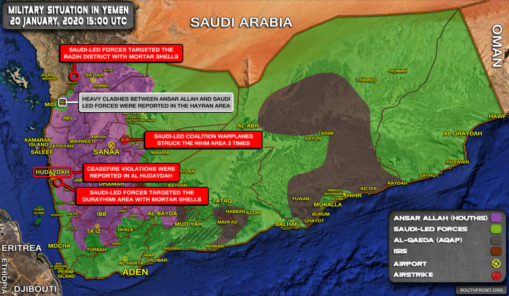 Military Situation In Yemen On January 20, 2020 (Map Update)