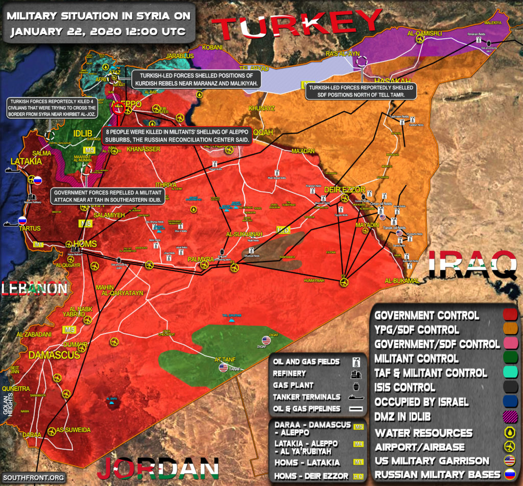 Military Situation In Syria On January 22, 2020 (Map Update)