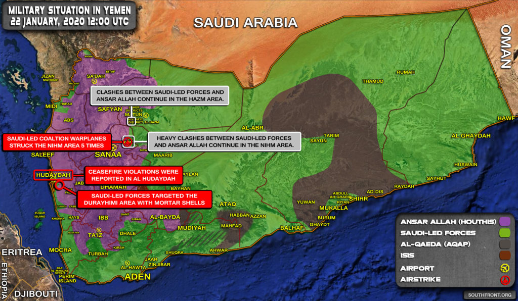 Military Situation In Yemen On January 22, 2020 (Map Update)