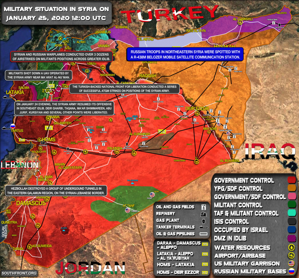 Military Situation In Syria On January 25, 2020 (Map Update)