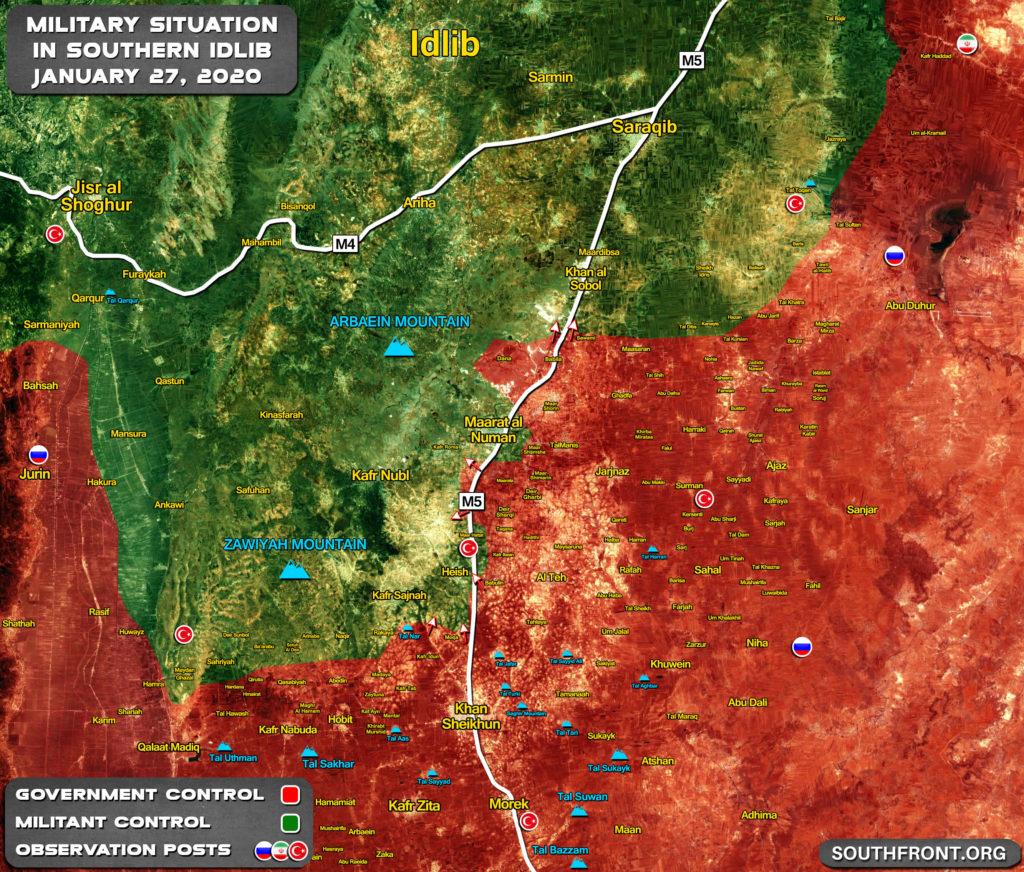 Aktualizácia Máp: Sýrskej Armády V Obkľúčení Maarat Al-Numan V Juhovýchodnej Idlib