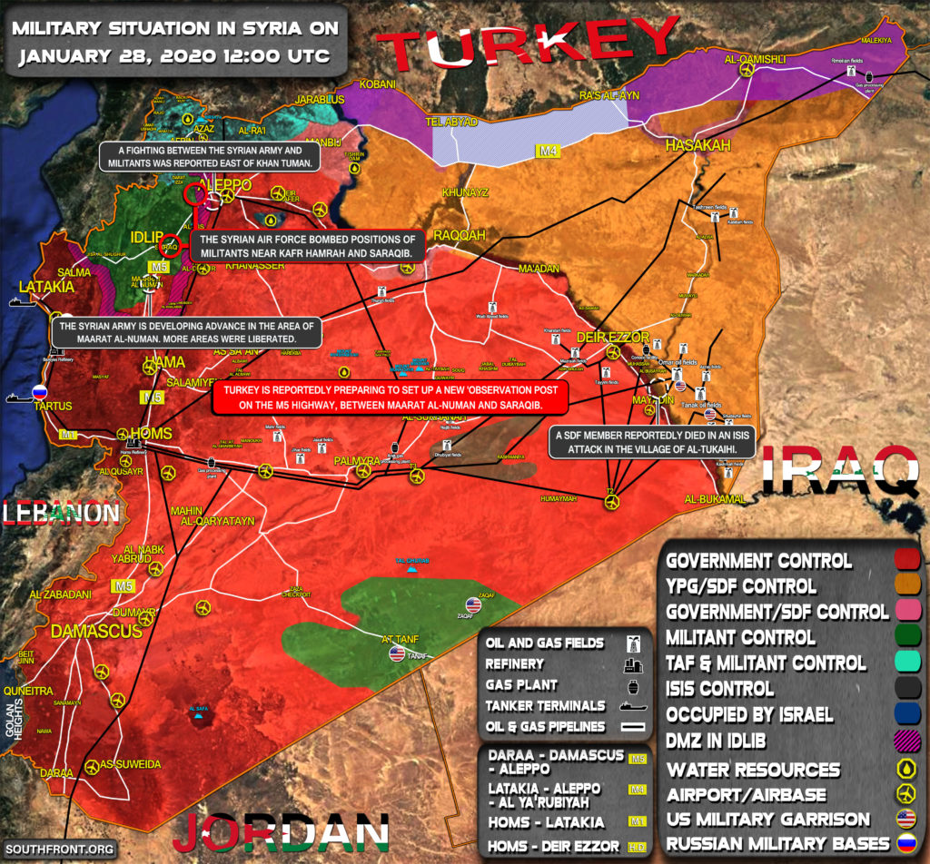 Military Situation In Syria On January 28, 2020 (Map Update)