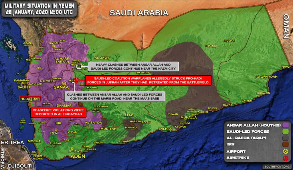 Military Situation In Yemen On January 28, 2020 (Map Update)
