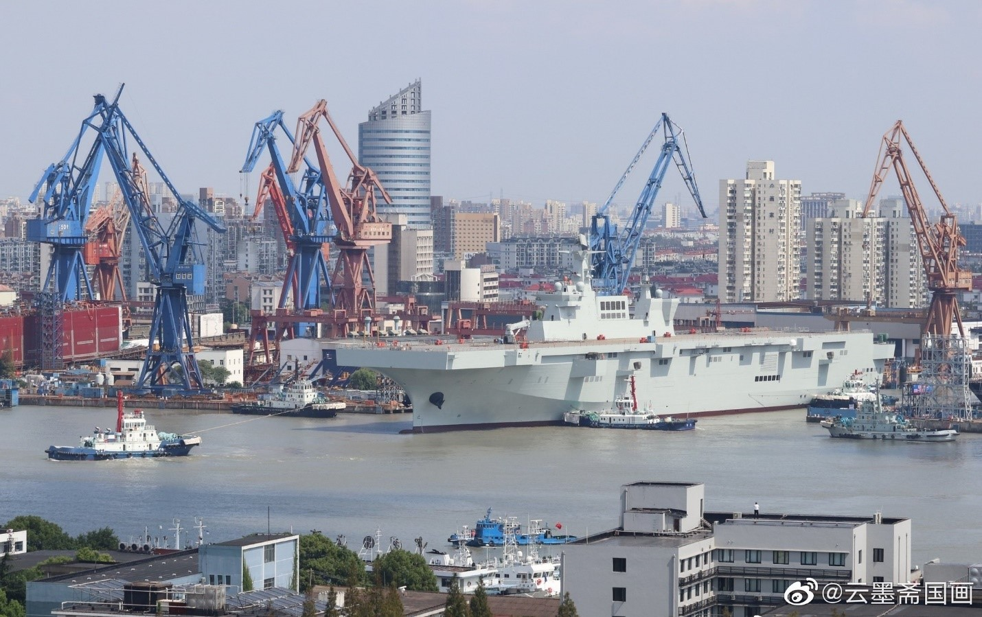 The first Type 075 LHD launched in Shanghai on September 25th, 2019. A second vessel is already under construction, while the third is rumored to be somewhat larger in dimensions and displacement. Initially conceived sometime in 2012, the project came to fruition in just 7 years.