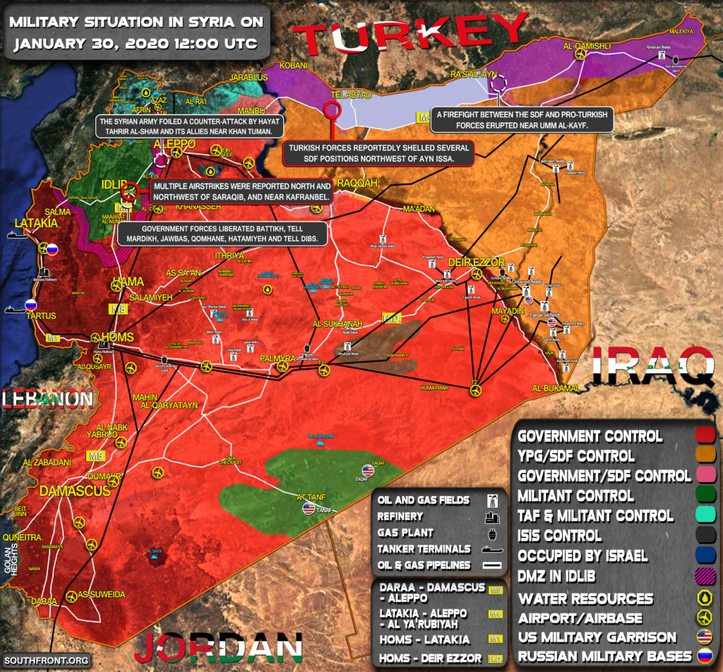 Military Situation In Syria On January 30, 2020 (Map Update)