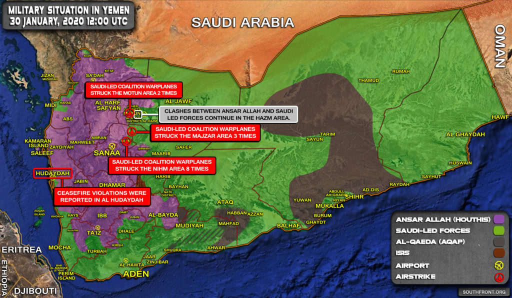 Military Situation In Yemen On January 30, 2020 (Map Update)