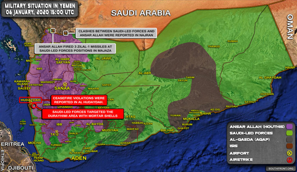 Military Situation In Yemen On January 6, 2020 (Map Update)