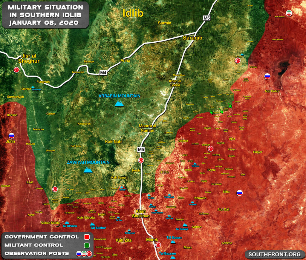 Military Situation In Southern Idlib On January 8, 2020 (Map Update)