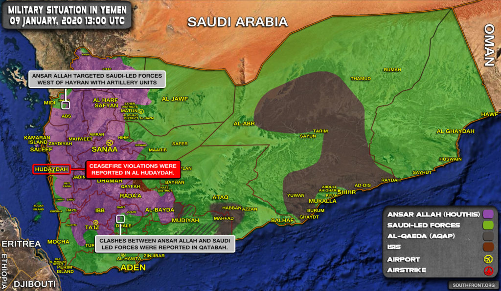 Military Situation In Yemen On January 9, 2020 (Map Update)