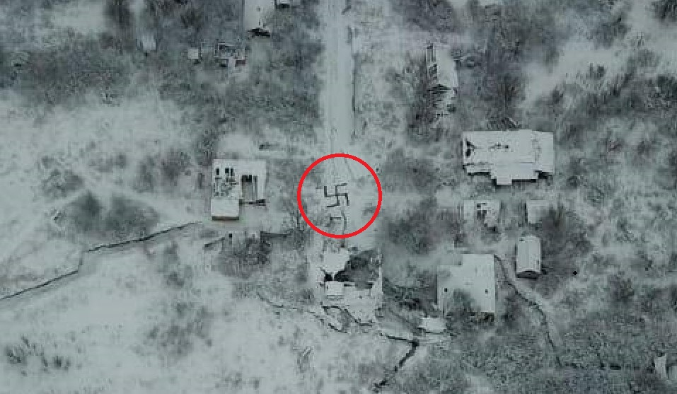Ukrainian Army Sends Signals Of Their Commitment To Democracy By Making Nazi Swastikas At Own Positions