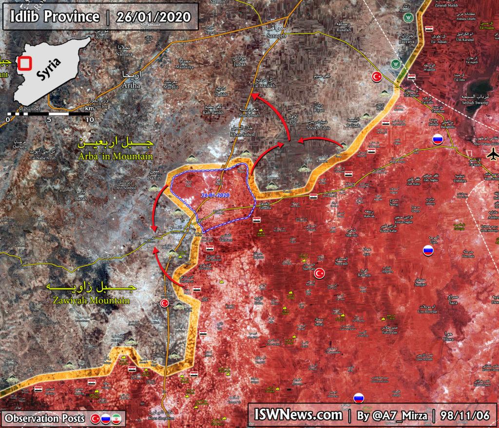Aktualizácia máp: Sýrska Armáda Je Obopínajúce Maarat al-Numan
