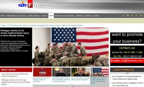 Iran's Fars News Knocked Off Web By US Treasury Order