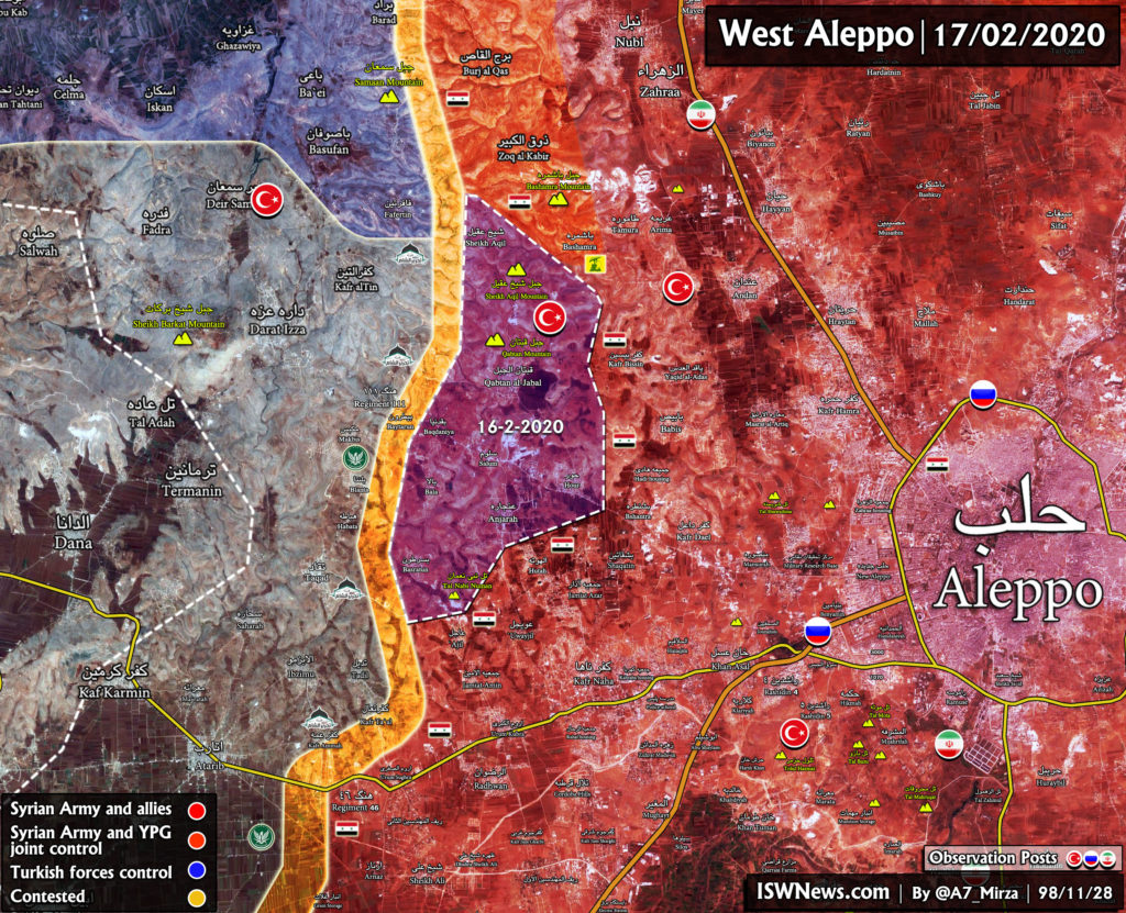 Map Update: Syrian Army's Gains In Western Aleppo On February 17, 2020