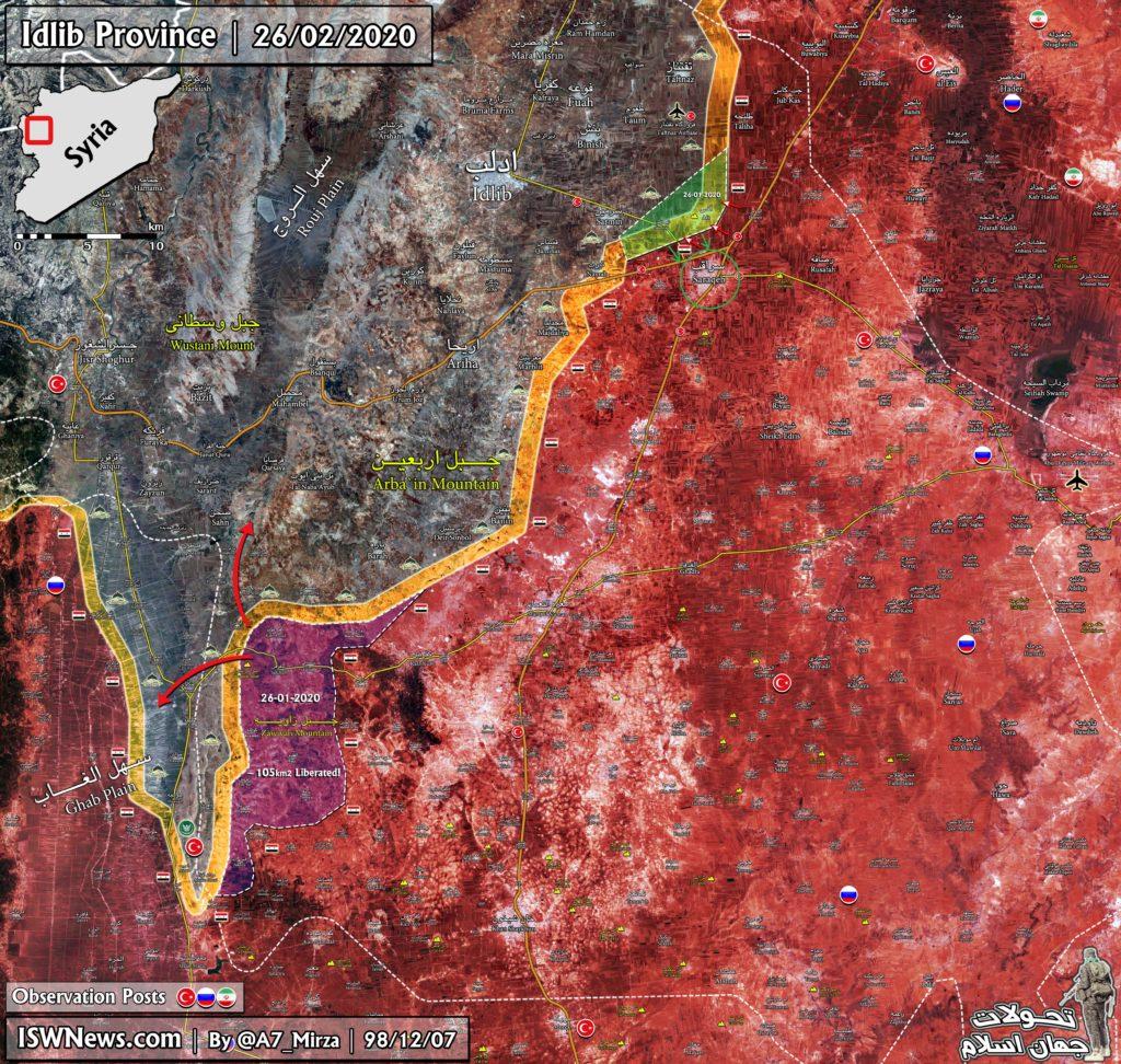 Turecko-led Síl Reentered Saraqib Nasledujúce Kolaps Sýrskej Armády Obrany Severozápadne Od Mesta