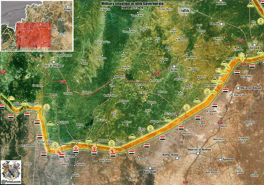 Military Situation In Southern Part Of Idlib Zone On February 28, 2020 (Map Update)