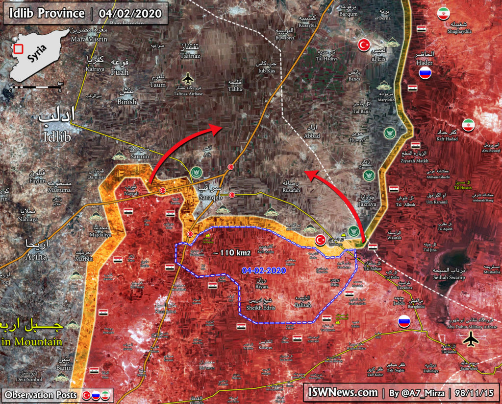 Government Forces Liberated 110km2 In Southeastern Idlib Since February 4 Morning