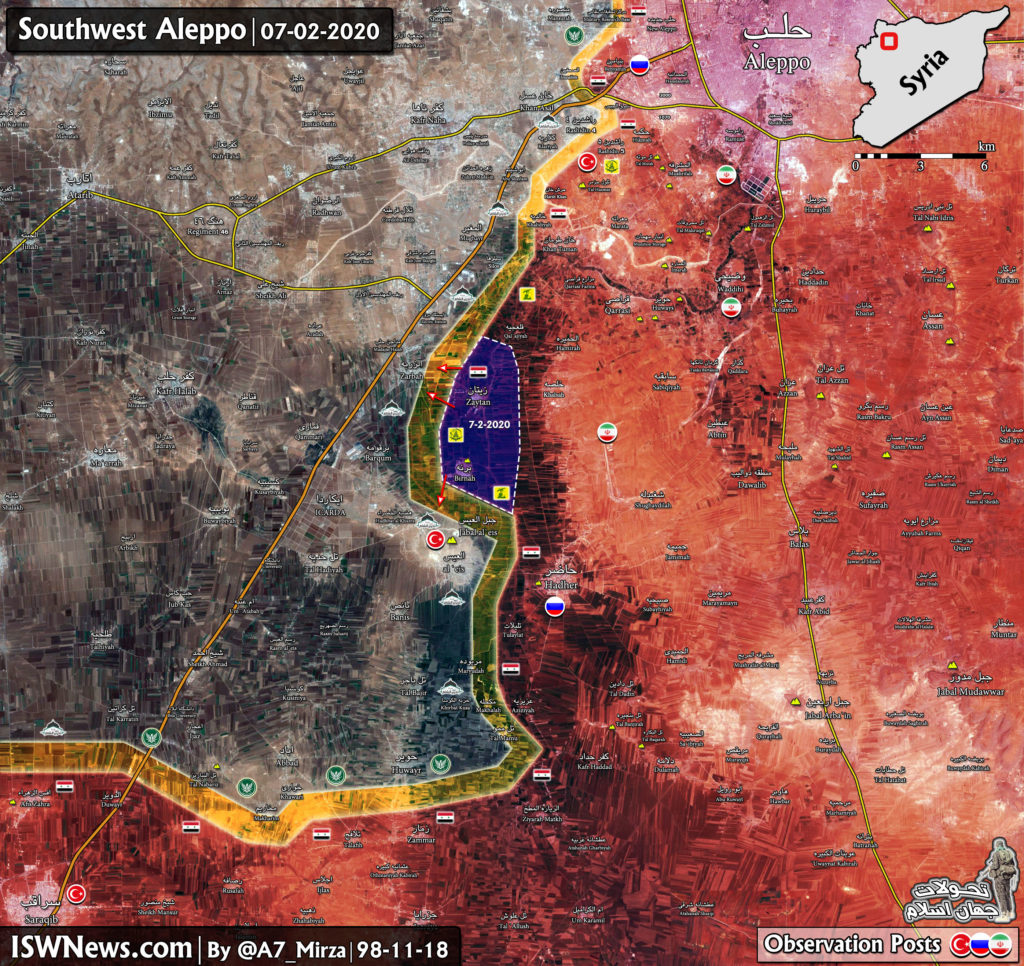 Military Situation In Southwestern Aleppo On February 7, 2020 (Map Update)