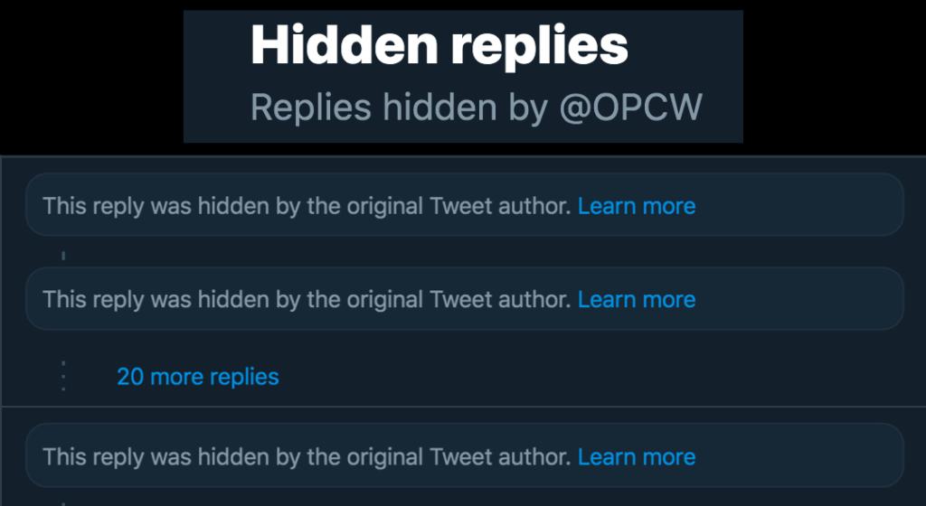 "Scandal-Ridden OPCW Now Using Twitter's ""Hide Replies"" Function"