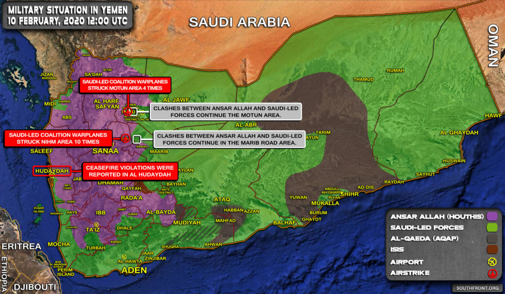 Military Situation In Yemen On February 10, 2020 (Map Update)