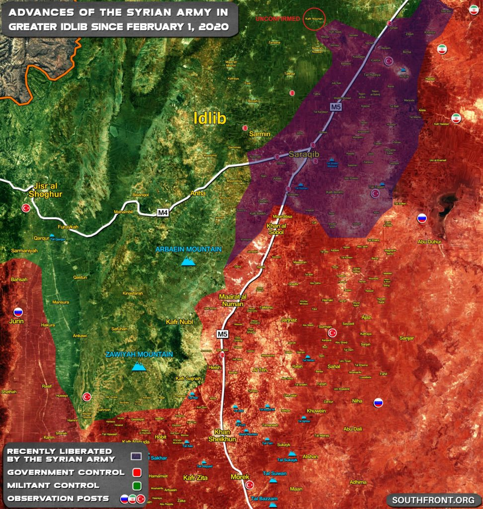 Turkish-led Forces Fail To Capture Naryab As Syrian Army Makes More Gains In Greater Idlib
