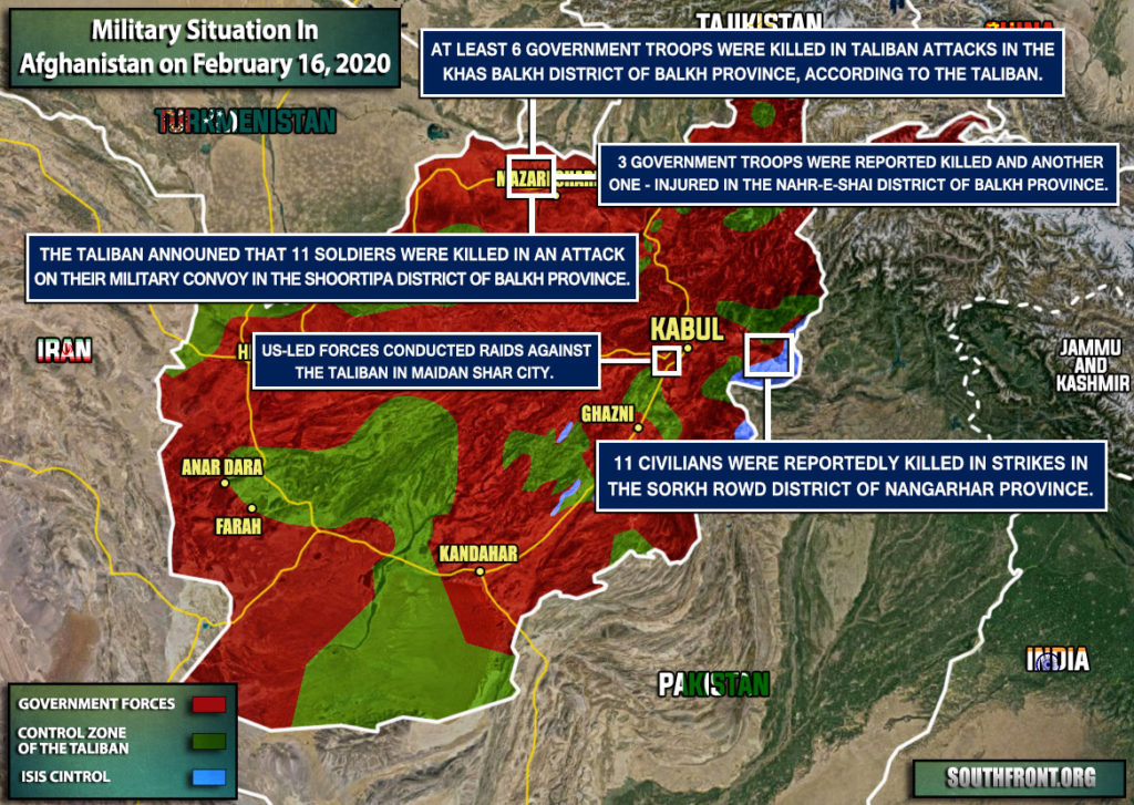 Military Situation In Afghanistan On February 16, 2020 (Map Update)